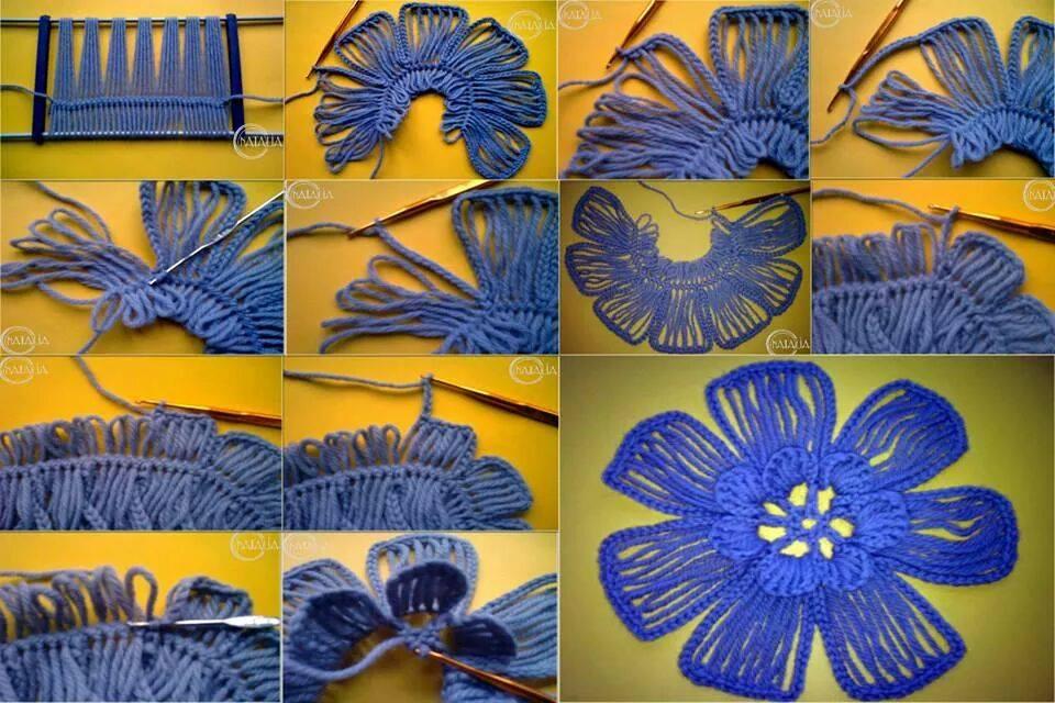 tutorial di un fiore fatto all'uncinetto a forcella