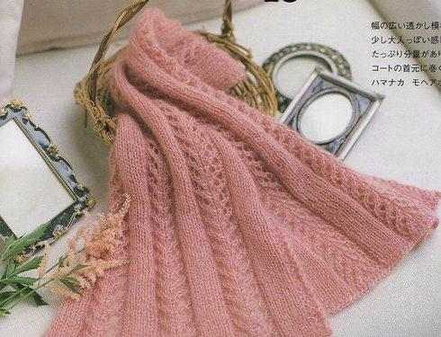 Bellissima sciarpa rosa antico lavorata ai ferri