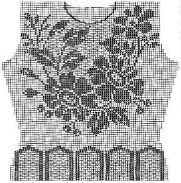 maglietta a filet all'uncinetto con motivo a fiori