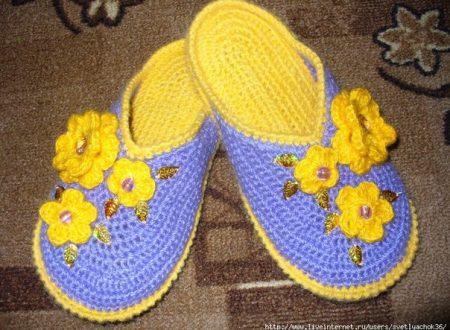 Bellissime pantofole da realizzare all'uncinetto