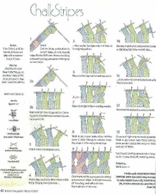 Sciarpa multicolore ai ferri con punto coste
