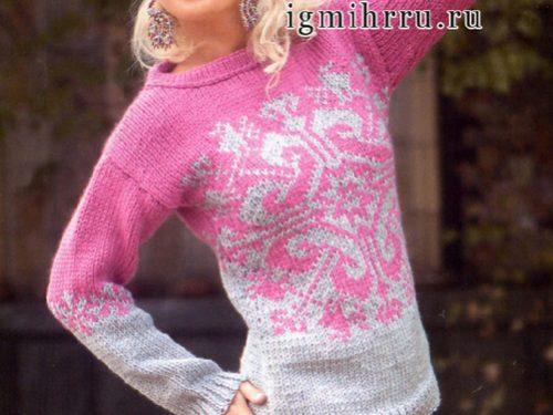 maglione ai ferri con motivo jacquard