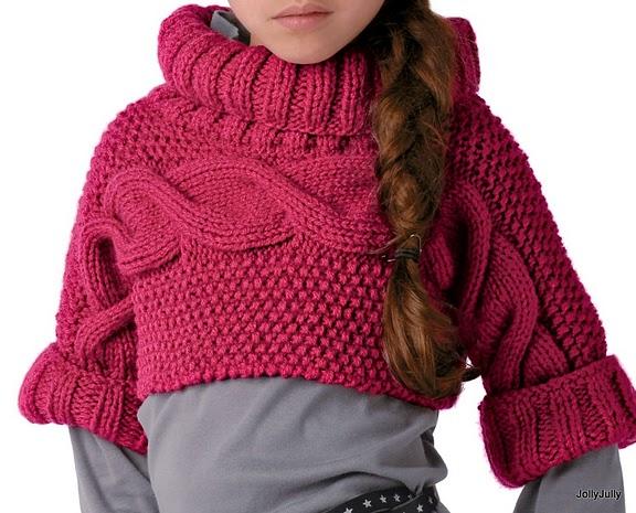 Golf corto o coprispalle per bambina con lana spessa