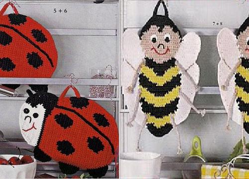 presine all'uncinetto con motivo: coccinella e ape