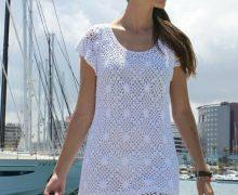 Splendido e fresco abito bianco all'uncinetto