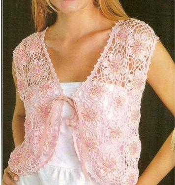 Meraviglioso gilet rosa con motivo floreale