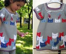 vestito jacquard con gattini, all'uncinetto