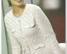 Favolosa giacca bianca stile Chanel all'uncinetto
