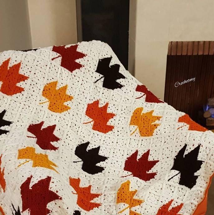 Meravigliosa coperta con foglie d'autunno
