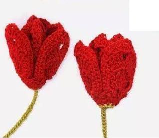 Bellissimi fiori di tulipano all'uncinetto