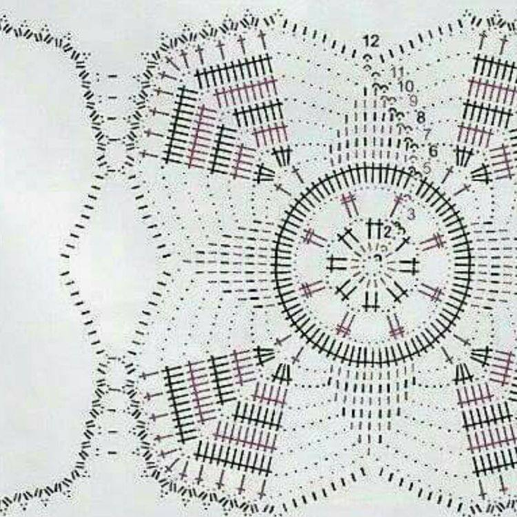 centrotavola all'uncinetto composto da centrini quadrati