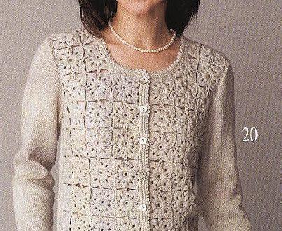 Una meraviglia di giacca elegante all'uncinetto