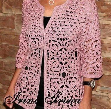 Favolosa giacca rosa all'uncinetto