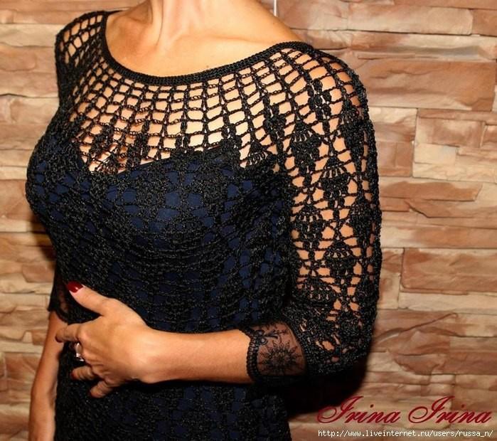 Favoloso abito da sera nero all'uncinetto