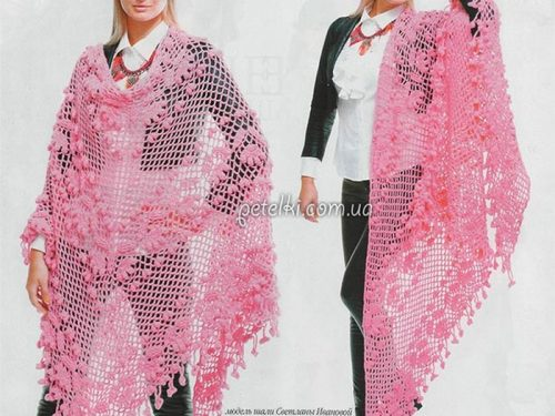 Favoloso sciale rosa all'uncinetto
