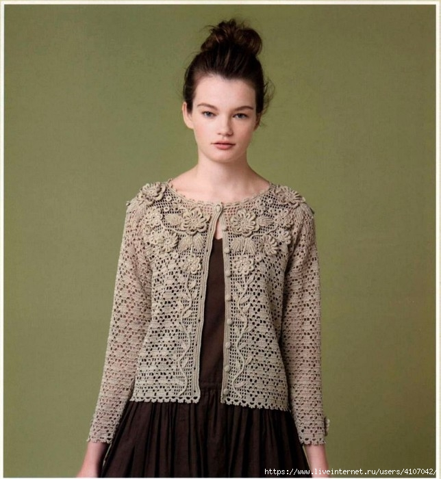 Bellissima giacca ornata da merletti irlandesi