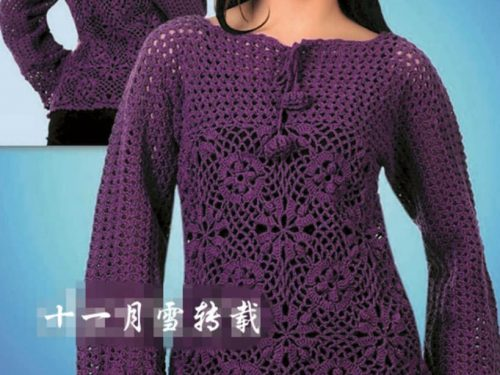 Maglia viola con maniche lunghe
