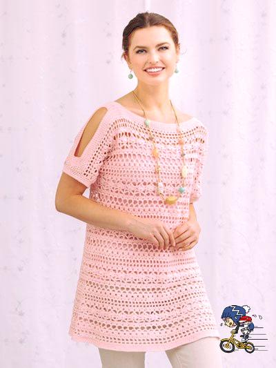tunica rosa tenero all'uncinetto